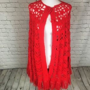 Vintage Fringed Crocheted Poncho